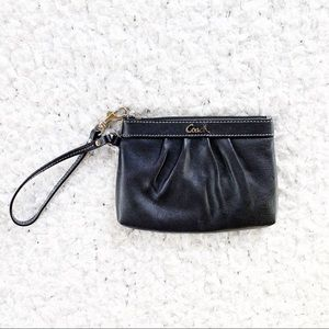 Coach Black Soft Leather Small Wristlet NWOT